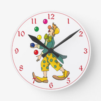 Juggler colorido do palhaço de circo relógios de pendurar