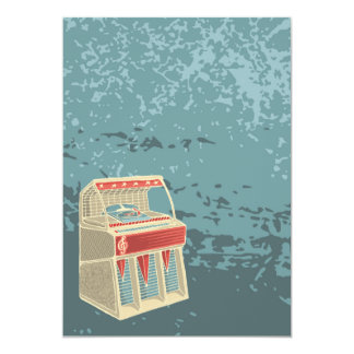 Jukebox retro do Grunge Convite 12.7 X 17.78cm