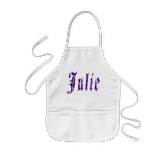 Julie, nome, logotipo, avental artístico de Kindy