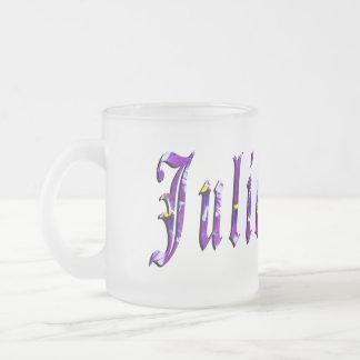 Julie, nome, logotipo, caneca do vidro de fosco