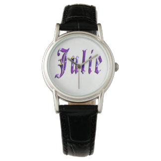 Julie, nome, logotipo, relógio de couro preto das