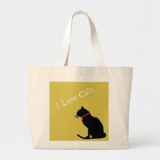 Jumbo eu amo os gatos amarelos e o bolsa gráfico