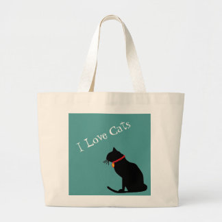 Bolsa Tote Grande Jumbo eu amo os gatos azuis e o bolsa gráfico