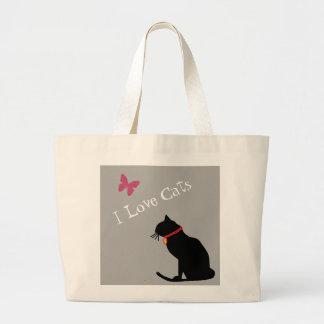 Bolsa Tote Grande Jumbo eu amo os gatos cinzentos e o bolsa gráfico