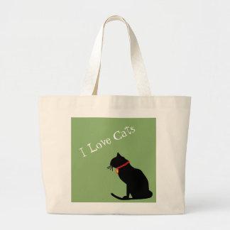 Bolsa Tote Grande Jumbo eu amo os gatos verdes e o bolsa gráfico