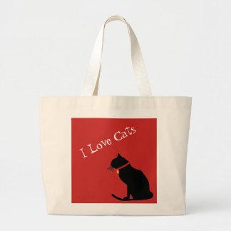 Bolsa Tote Grande Jumbo eu amo os gatos vermelhos e o bolsa gráfico