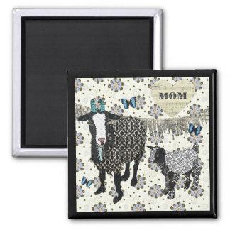 Junebug & ímã de desmaio da mamã da cabra do bebê ímã quadrado