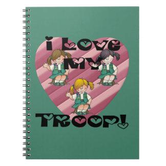 Júnior eu amo meu coração da tropa caderno