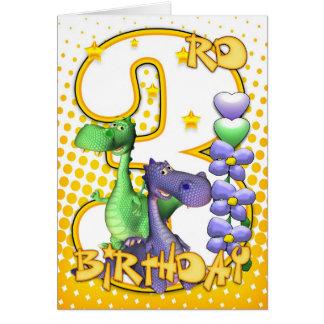 Junta o cartão de aniversário de 3 anos - dragões