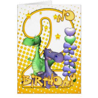Junta o cartão de segundo aniversário - dragões pe