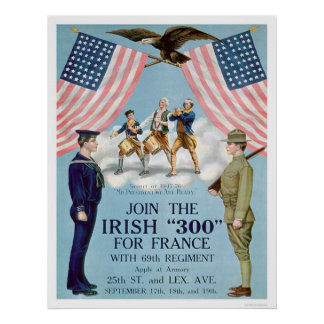 "Junte-se ao irlandês ""300"" para France (US02064) Poster"