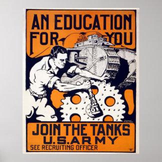 Junte-se aos tanques - exército dos EUA Poster