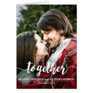 Junto modelo da foto dos cartões de natal do casal