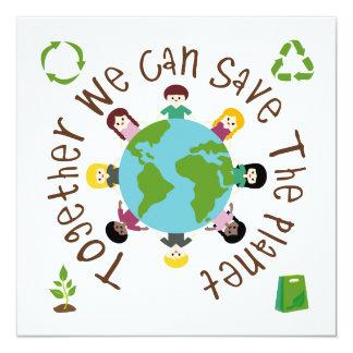 Junto nós podemos salvar o planeta convite personalizado