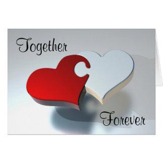 """""""Junto para sempre"""" ame namorados do quebra-cabeça Cartão Comemorativo"""