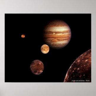Jupiter e satélites impressão