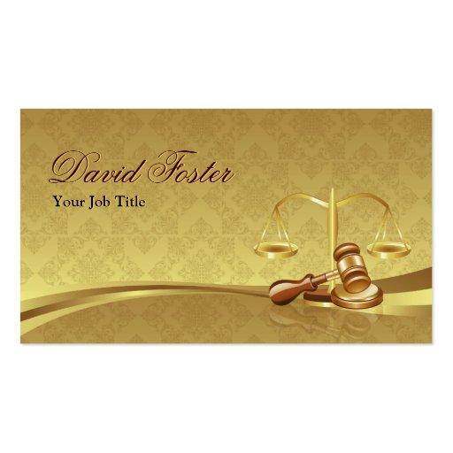 Justiça do advogado do advogado - folha de ouro el cartões de visita