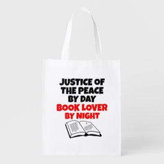 Justiça do amante de livro da paz sacola reusável