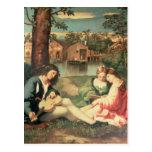 Juventude com das duas meninas um assento da guita cartao postal