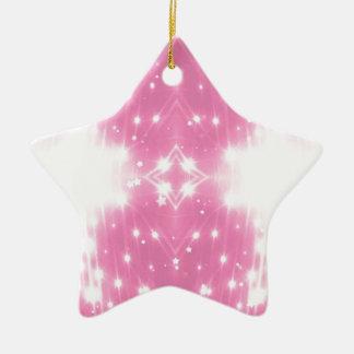 Kaleidosope Sparkling cor-de-rosa Ornamento De Cerâmica Estrela