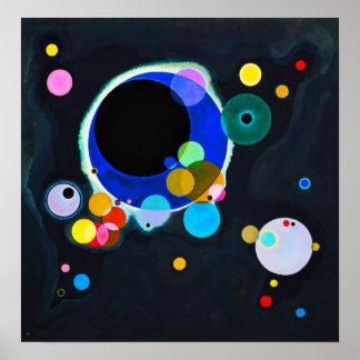 Kandinsky poster de diversos círculos