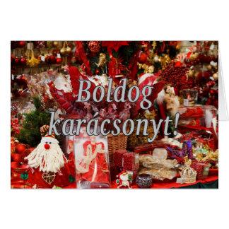Karácsonyt de Boldog! Feliz Natal no wf húngaro Cartoes