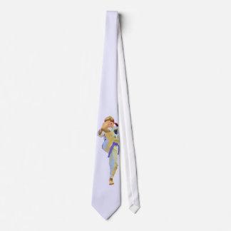 Karaté que retrocede a correia roxa gravata