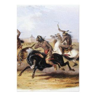 Karl Bodmer - corrida de cavalos dos Sioux Convites Personalizados