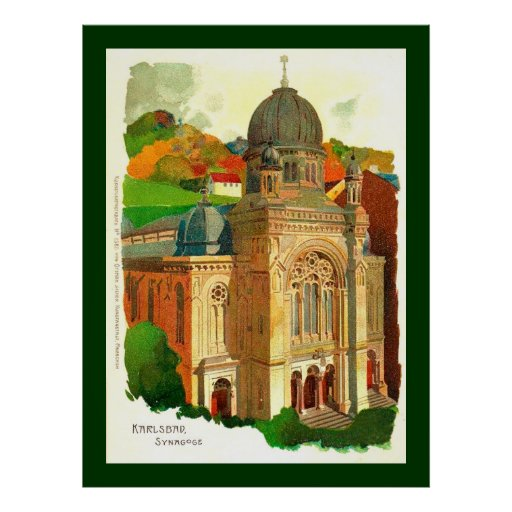 Karlovy varia a sinagoga (de Karlsbad) Posteres