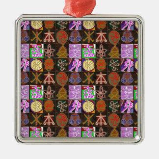 KARUNA Reiki = presentes da cura cósmica da Ornamento Quadrado Cor Prata