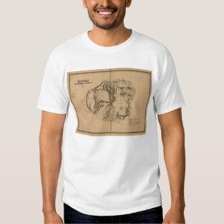 Kauai, 1878, mapa de Havaí do vintage T-shirts