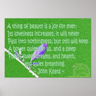 "Keats ""uma coisa poster da beleza"""