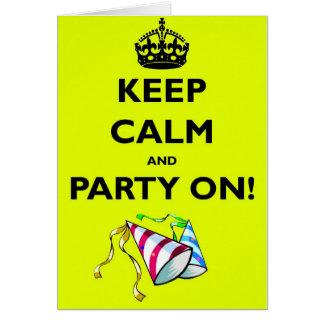 KEEP-CALM-AND-PARTY-ON CARTÃO