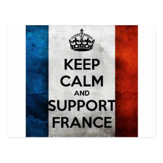 Keep Calm and Support France Cartão Postal