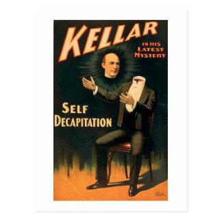 Kellar o mágico - decapitação do auto - vintage cartão postal
