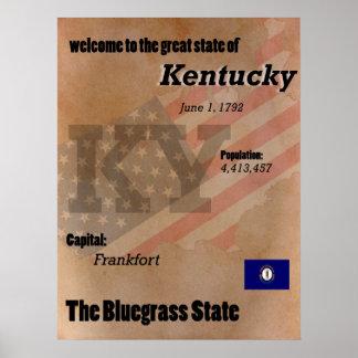 Kentucky o clássico do estado do Bluegrass Poster