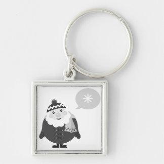 Keychaine de prata com papai noel chaveiro quadrado na cor prata