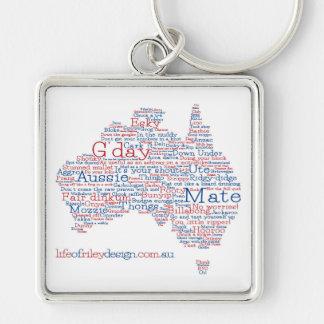 Keyring australiano do calão da edição especial chaveiro quadrado na cor prata