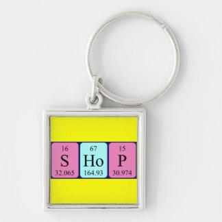 Keyring da mesa periódica da loja chaveiro quadrado na cor prata
