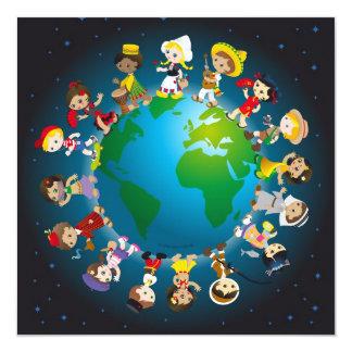 Kidz do mundo convite quadrado 13.35 x 13.35cm