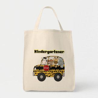 Kindergartener dos animais do jardim zoológico sacola tote de mercado