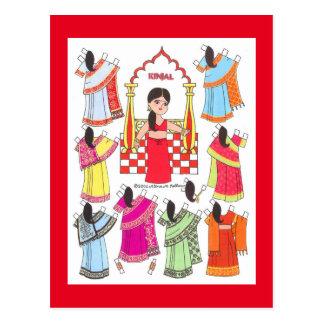 Kinjal, menina do sari do cartão da boneca do
