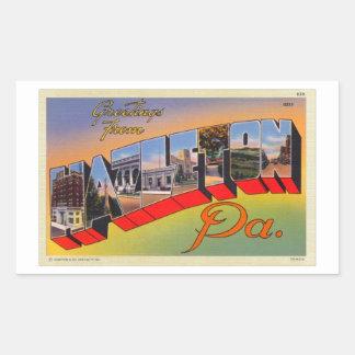 Kitsch retro Hazelton do vintage, cartão da letra Adesivo Retangular