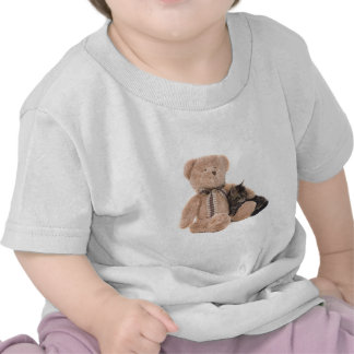 kitten in the arms of a teddy bear t-shirts