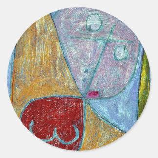 Klee - anjo ainda feminino adesivo em formato redondo