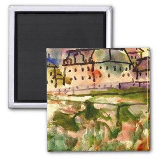 Klee - casas perto do cascalho Pit-1913 Ímã Quadrado