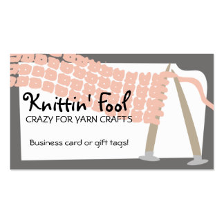 Knitting needles scarf pink grey business cards...