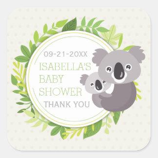Koala bonito das mamães & chá de fraldas do Koala Adesivo Quadrado