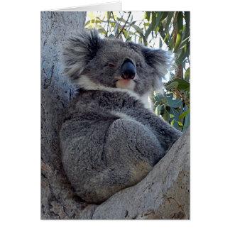Koala do cartão de aniversário em uma árvore de