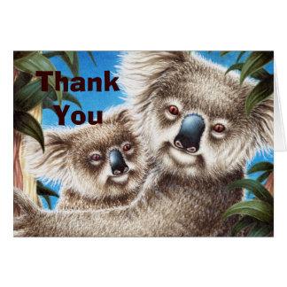 Koala e obrigado do bebê você cartão de nota